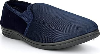 Zedzzz Mens Navy and Grey Textile and Imitation Suede Striped Twin Gusset Slipper - Lewis - Navy/Grey - Navy/Grey - size UK Mens Size 11