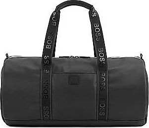 BOSS Holdall in pebble-print fabric with logo straps