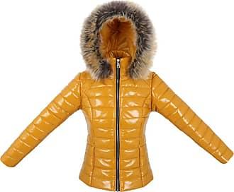 Parsa Fashions Womens Wet Look Vinyl PVC PU Faux Leather Shiny Puffer Bubble Jacket S to XXL (XL, Mustard)