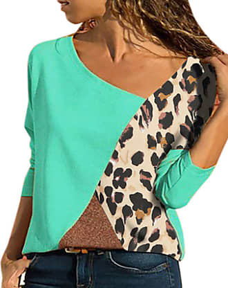 Yoins Women Cold Shoulder Turtle Neck Tops Long Sleeve Geometric Stripe Casual Loose Blouse Tee Pullover Leopard-blue XXL