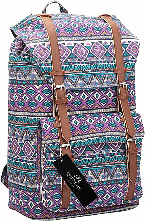 Quenchy London Backpack Casual Daypack for Girls and Women, Medium Canvas School Size A4 Bag 45cm x30x9 25 Litre QL916 (Purple Inca)