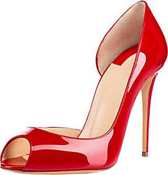 d7c89971a3f08a EDEFS Damen Stiletto Lackleder Peep Toe Hochzeit Pumps High Heels Zwei  Stück Rot Größe EU39