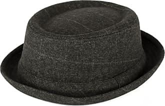 Hat To Socks Mens Ladies Pork Pie Hat Overcheck Twill Tweed with Grey Band - Ash Grey (59/L)