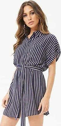 Forever 21 Forever 21 Striped Mini Shirt Dress Navy/rust
