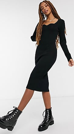 New Look – Kamelfärgad stickad klänning med knytning i