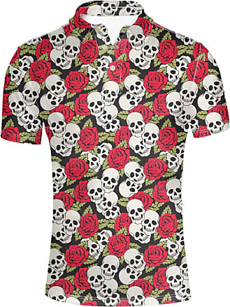 Hugs Idea Classic Mens Jersey Sport Shirt Sugar Floral Skull Print T-Shirt Summer Short Sleeve Clothing