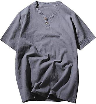 Abetteric Túnica masculina Abetteric de cor sólida e manga curta, com botões, gola em V, túnica macia, Pattern1, US 4X Large