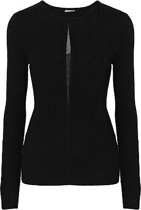 Elie Tahari Elie Tahari Woman Lyndi Metallic Tulle-trimmed Ribbed Merino Wool Sweater Black Size XS