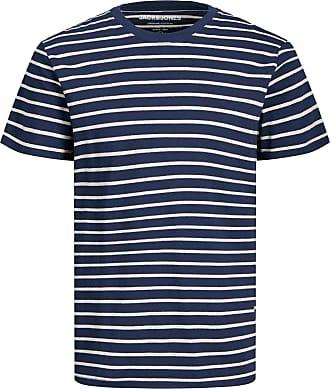 Jack & Jones Gestreiftes T-Shirt mit Rundhalsausschnitt - Navy Blazer Slim Fit