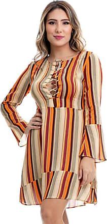 Clara Arruda Vestido Clara Arruda Decote Transpasse Estampado 50329 - P - Listras