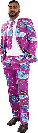 True Face Mens Coats Pants Christmas Blazers Trousers Novelty Fancy Costume (S, Suit-Purple)