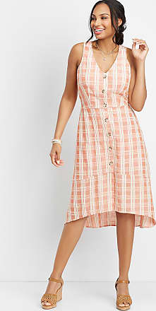 Maurices Button Front Plaid Woven Dress