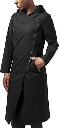 Urban Classics Womens Ladies Peached Long Asymmetric Coat, Black (Black 7), XS