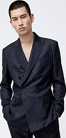 Le 31 Etched-stripe double-breasted jacket Semi-slim fit