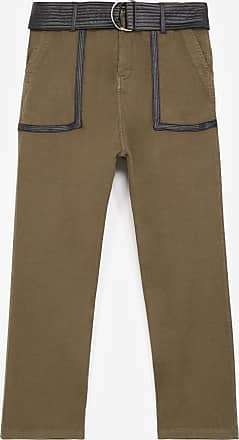The Kooples Khaki military trousers with leather belt - WOMEN