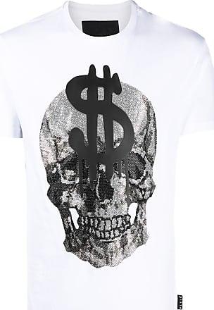 PHILIPP PLEIN Black//White Skull Beading Men Casual T-shirt #P88178M-3XL