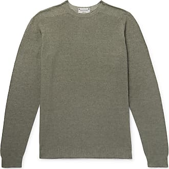Incotex Slim-fit Reversible Cotton-blend Sweater - Gray green