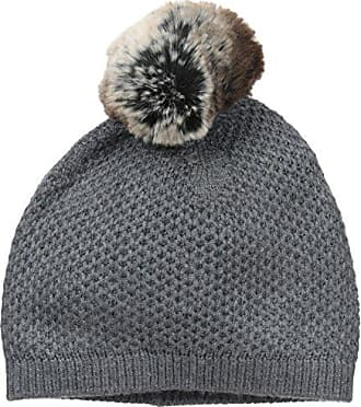 a4f6ea2a4d8b05 Badgley Mischka Womens Honeycomb Knit Beanie with Faux Chinchilla Pom,  Grey, One Size