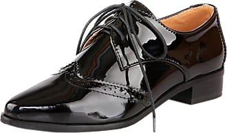 RAZAMAZA Women Fashion Low Heel Pointy Oxford Shoes Lace Up Black Size 39 Asian