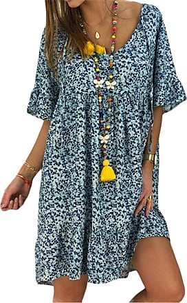 QIYUN.Z Summer 2020 Short Sleeve Dress Loose Women Plus Size Fashion Shirt Dresses Vestidos Blue 3XL