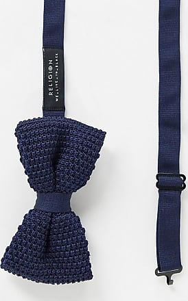 Religion knitted bow tie-Navy