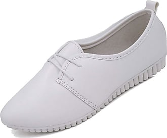 NOADream Women Oxford Leather Shoes Loafers Moccasins Casual Comfort Sports Dress Office Work Walking Ballet Boat Flats for Ladies White