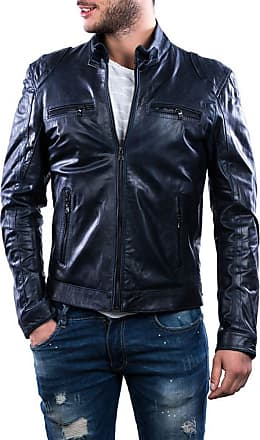 Leather Trend Italy Avatar - Giacca Uomo in Vera Pelle colore Blu Oil Vintage