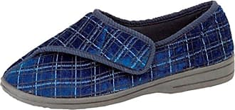 Zedzzz Mens Navy Check Velour Washable Touch Fastening Slipper - George - Navy Check - size UK Mens Size 12