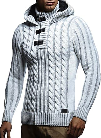 LEIF NELSON Mens Pullover Knit Sweater Hooded Hoodie N NV