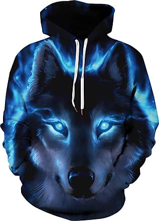 EUDOLAH Mens Long Sleeve Tops Graphic 3D Prints Hoodies Novelty Sweatshirts Colourful Pullover Jumpers (Tag S/M, Nether Wolf)