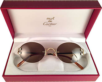 c2ac621387 Cartier New Vintage Cartier Scala 45mm Gold Rimless Brown Lens Case France  Sunglasses