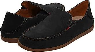 Olukai Nohea Nubuck (Black/Tan) Womens Slip on Shoes