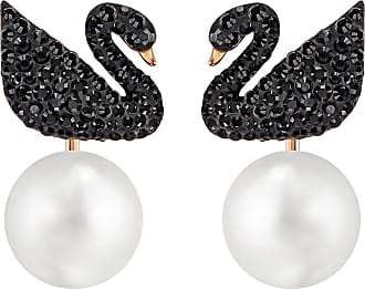 Swarovski Iconic Swan Pierced Earring Jackets, Black, Rose Gold Plating