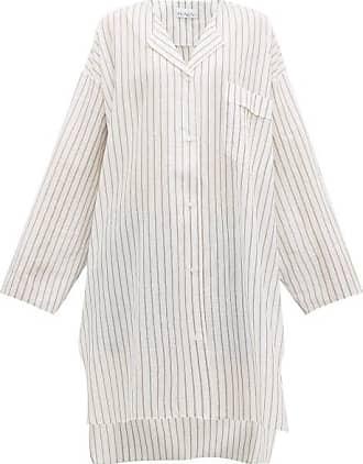 Raey Sheer Striped Cotton Shirtdress - Womens - White Stripe
