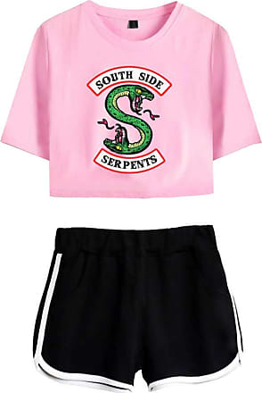 OLIPHEE Inspired Riverdale Jughead Jones Athleisure Tracksuits Crop Top T-Shirts and Shorts Southside Serpents Printed Suit for Women DIY Pink Black S