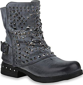 29e9dcbb0d7d3f Stiefelparadies Damen Schuhe Biker Boots Warm Gefütterte Stiefel Nieten  Stiefeletten 153009 Grau Blau 36 Flandell