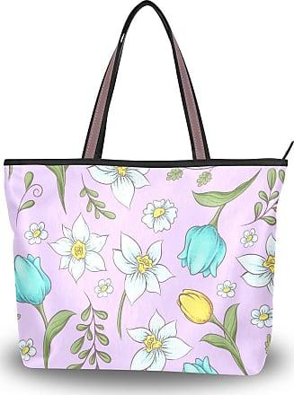 Lorona Women Daffodils Tulips Pattern Canvas Shoulder Hand Bag Large Capacity Tote Bag