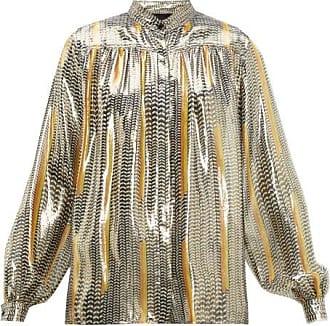 Giambattista Valli Geometric-print Silk-blend Blouse - Womens - Black Gold