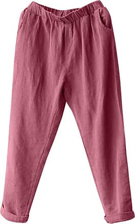 QUINTRA Plus Size Women Linen Harem Pants Baggy Loose Trousers Casual Lady (3XL, Wine Red)