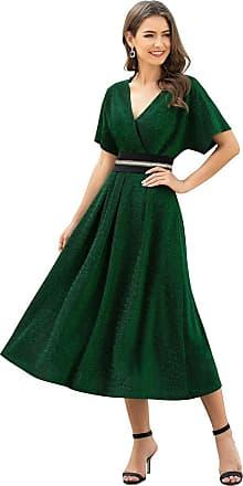 Ever-pretty Womens V Neck Short Sleeve A Line Empire Waist Midi Cocktail Evening Party Dresses Dark Green 14UK