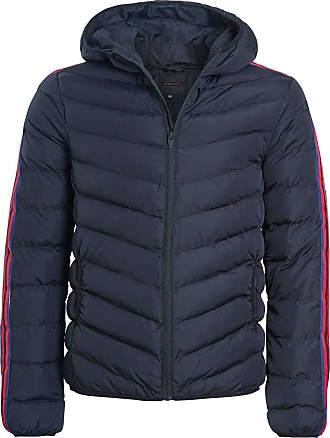 Shelikes Mens Quilted Hooded Contrast Stripe Sleeve Zip Up Winter Warm Jacket Coat [Black S]