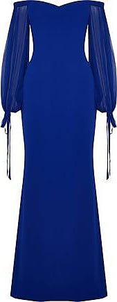 Badgley Mischka Badgley Mischka Woman Off-the-shoulder Chiffon-paneled Crepe Gown Royal Blue Size 0