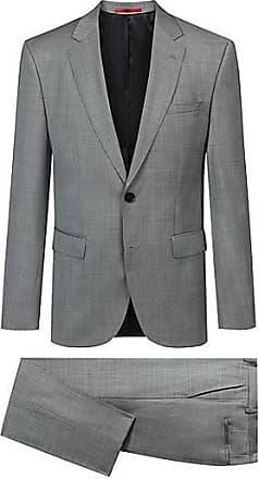 591e9ed2fc7b HUGO BOSS Dezent gemusterter Regular-Fit Anzug aus Schurwolle
