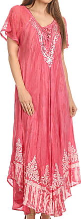 Sakkas 16601 - Ronny Lace Embroidered Cap Sleeve Tie Dye Wash Caftan Dress/Cover Up - Blush - OS