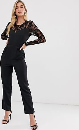 Unique21 Unique21 lace insert jumpsuit-Black