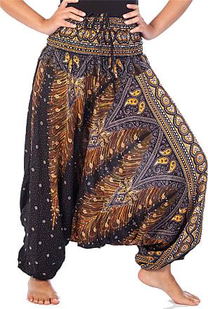 Lofbaz Womens Peacock 2 in 1 Harem Trousers Jumpsuit Black & Gold XL
