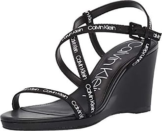 Calvin Klein Womens BELLEMINE Wedge Sandal, Black Logo Webbing, 7.5 M US