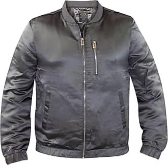 True Face Mens Bomber Jackets Classic Casual Silk Coat Biker Top Grey Medium