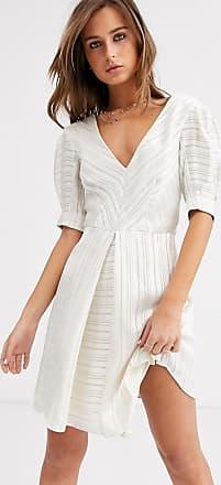 Topshop burnout mini dress in ivory-Cream