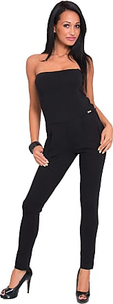 FUTURO FASHION Womens Jumpsuit with Pockets Bandeau Catsuit Playsuit One Size 8-12 FT468 Black